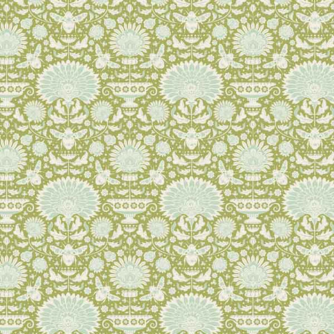 Tilda Garden Bees Green Cotton Fabric, Bumblebee Collection, Tilda Fabric 481317