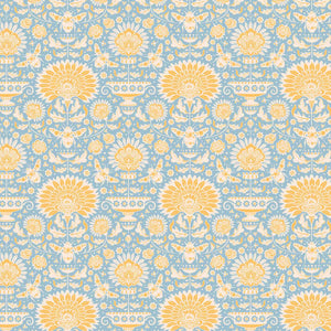 Tilda Garden Bees Blue Cotton Fabric, Bumblebee Collection, Tilda Fabric 481319 - Fabric and Ribbon