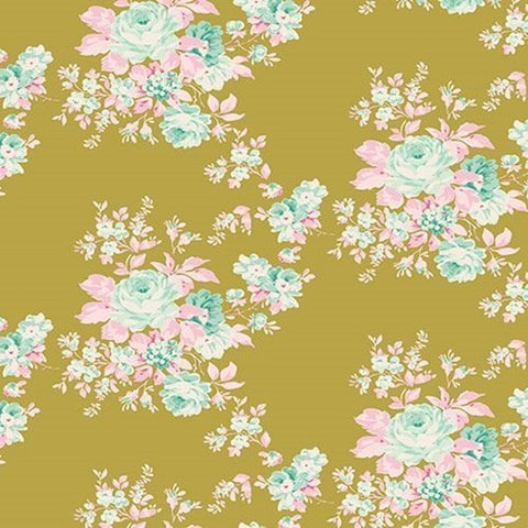 Tilda Autumn Rose Green Cotton Fabric, Harvest Collection, Tilda Cotton Fabric 481502 - Fabric and Ribbon