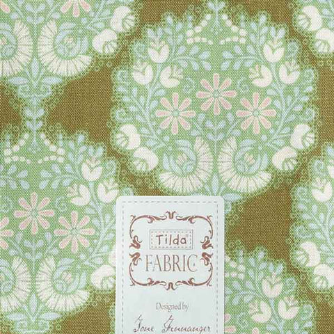 Tilda Flower Tree Green Fat Quarter, Harvest Collection, Tilda Fabric 481553