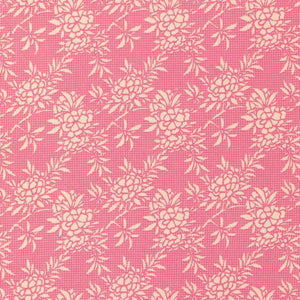 Tilda Flower Bush Pink Cotton Fabric, Harvest Collection, Tilda Cotton Fabric 481507 - Fabric and Ribbon