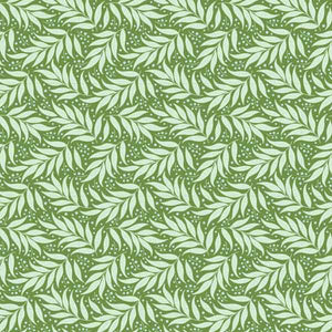 Tilda Berry Leaf Green Cotton Fabric, Cottage Collection, Tilda Fabric 481522