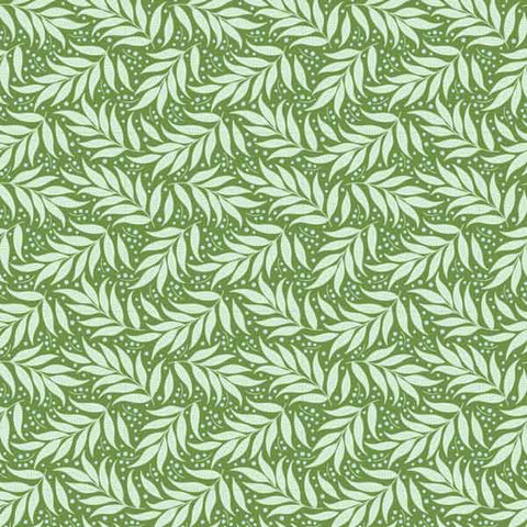 Tilda Berry Leaf Green Cotton Fabric, Cottage Collection, Tilda Fabric 481522 - Fabric and Ribbon