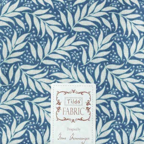 Tilda Berry Leaf Blue Cotton Fat Quarter, Cottage Collection, Tilda Fabric 481595
