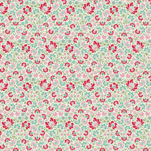Tilda Sigrid Dove White Cotton Fabric, Cottage Collection, Tilda Fabric 481637 - Fabric and Ribbon