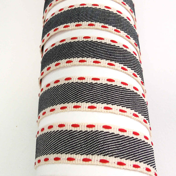 15 mm Navy Blue and Red Stitch Ribbon, 5/8 inch Blue and Red Vintage Stripe Ribbon