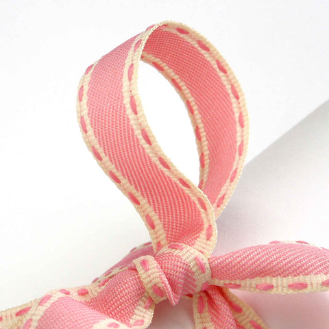 15 mm Vintage Stitch Pink Ribbon by Berisfords