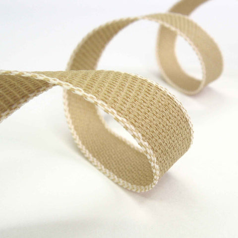 Ivory and Natural Hopsack Ribbon by Berisfords 15 mm, 25 mm width