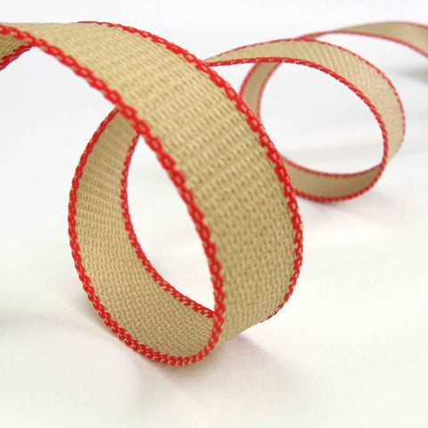Hopsack Ribbon Red by Berisfords 15 mm, 25 mm width