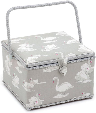 Swans Pebble Large Square Sewing Box, Hobby Gift  HGX/350 - Fabric and Ribbon