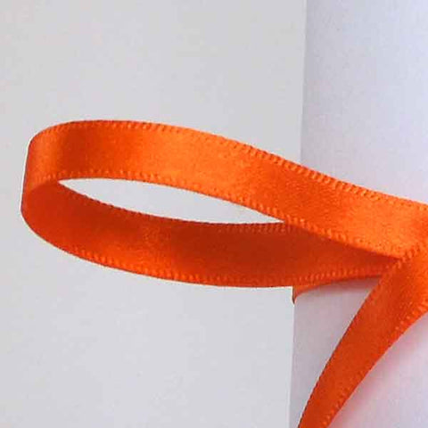 7 mm Orange Delight Double Sided Satin Ribbon, Orange Plain Narrow Fabric Ribbon - Fabric and Ribbon