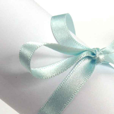 7 mm Sky Blue Double Sided Satin Ribbon, Light Blue Plain Narrow Fabric Ribbon - Fabric and Ribbon
