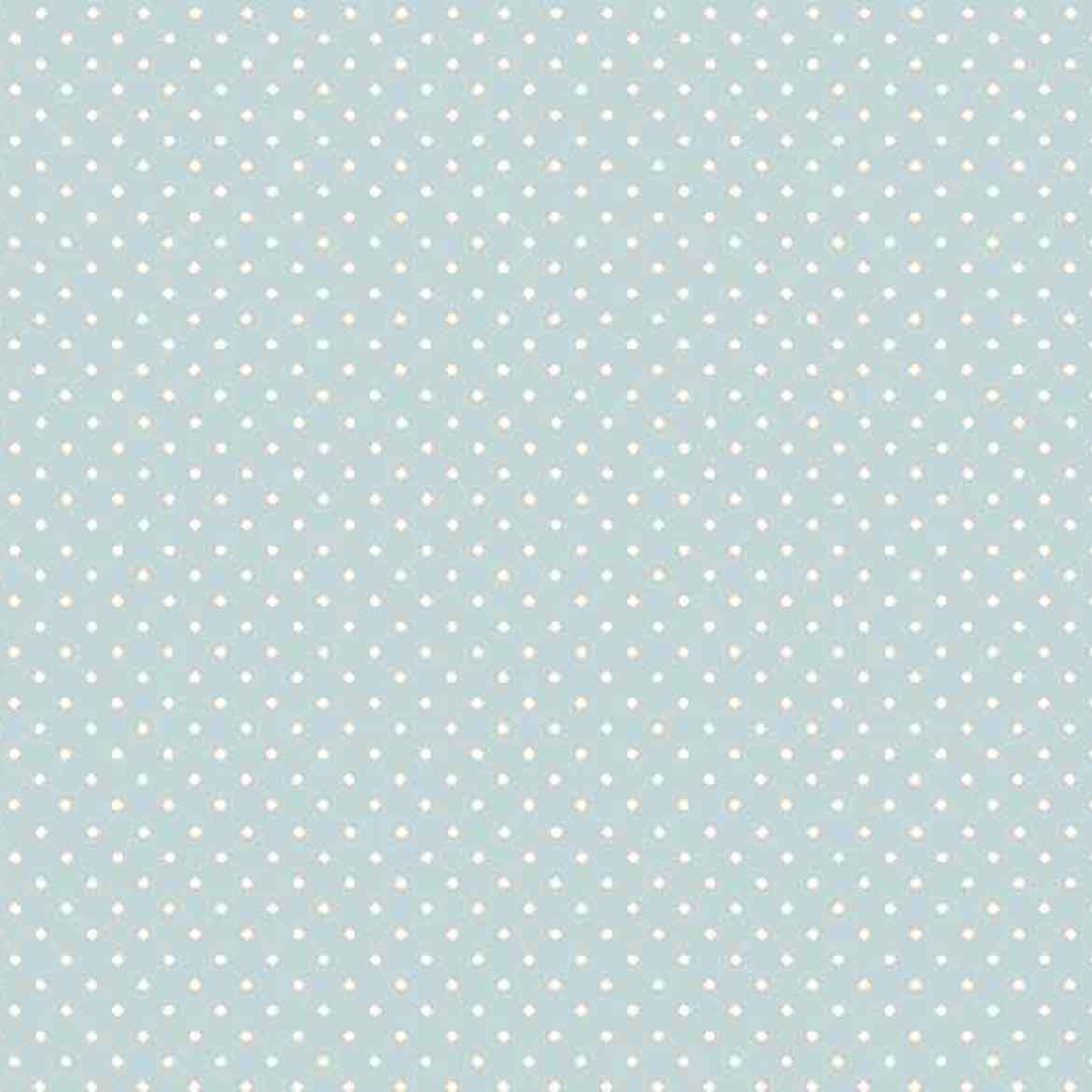 Baby Blue Spot Fabric by Makower 830/B2 from their Spot on Basics Collection, White on Pale Blue Small Polka Dot Fabric