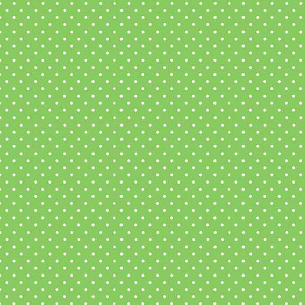 Apple Green Spot Fabric by Makower 830/G65 from their Spot on Basics Collection, White on Green Small Polka Dot Fabric