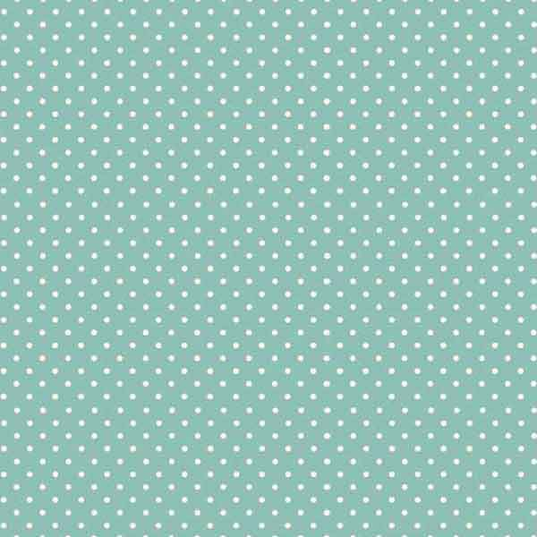 Teal Spot On Cotton Fabric by Makower, 830/T3, White on Teal Small Polka Dot Fabric