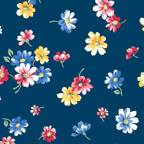 Blue Falling Blossoms Cotton Flower Fabric by Andover Fabrics 9361/B from their Strawberry Jam Collection