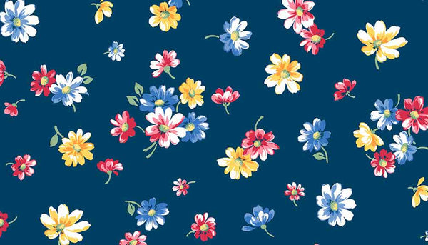 Blue Falling Blossoms Cotton Flower Fabric by Andover Fabrics 9361/B from their Strawberry Jam Collection - Fabric and Ribbon
