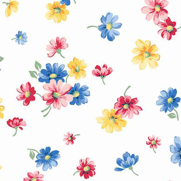 White Falling Blossoms Fabric by Andover 9361L, Strawberry Jam collection