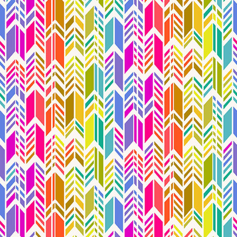 Rainbow Feather on Cream Cotton Fabric by Andover Fabrics 9701/L Alison Glass Art Theory