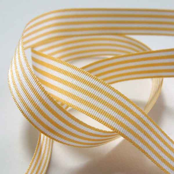 Beige and White Striped Ribbon, 9 mm, 16 mm, 25 mm Width