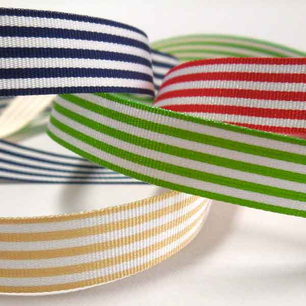 9 mm Navy Blue Striped Ribbon. 3/8 inch Dark Blue and White Striped Ribbon - Fabric and Ribbon