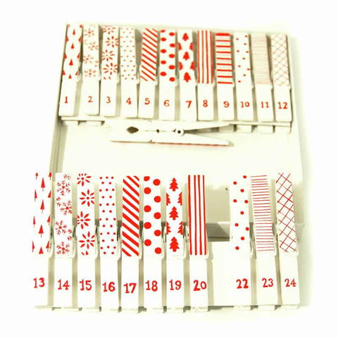 24 Wooden Christmas Pegs, 24 Red and White Advent Pegs for Xmas Crafts - Fabric and Ribbon