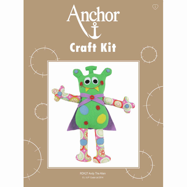 Andy The Alien Craft Kit, Anchor Craft Kit RDK27, Kid's Felt Applique Soft Alien Craft Kit - Fabric and Ribbon