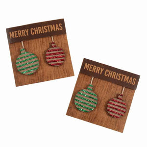 Merry Christmas Baubles Stick On Card Making Pack, Pack of 2 Red and Green Xmas Baubles Craft Kit - Fabric and Ribbon