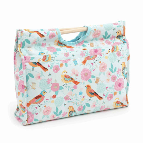 Birdsong Craft Bag with Wooden Handles: Birds on Blue Storage Bag, Hobby Gift MR4687\275