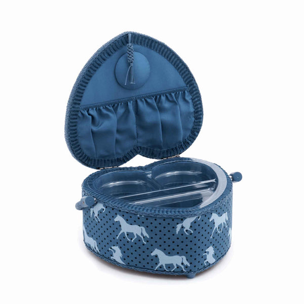 Blue Pony Sewing Box, Medium Heart Shaped Sewing Box,Blue Pony Up Design, Hobby Gift HGMH\318 - Fabric and Ribbon