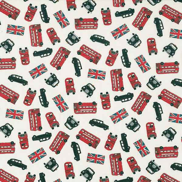 London Fabric, London Bus Scatter White Cotton Fabric by Makower from their London Collection