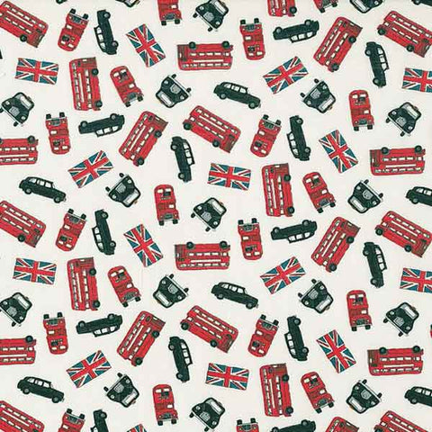 London Fabric, London Bus Scatter White Cotton Fabric by Makower 984/Q from their London Collection