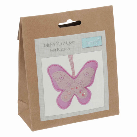 Felt Butterfly Kit, Make Your Own Pink Butterfly, GCK038 - Fabric and Ribbon