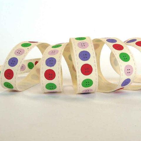 15 mm Coloured Button Cotton Ribbon