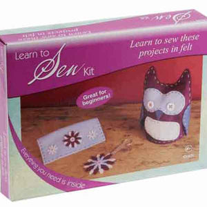 Owl Purse & Flower Key Ring Craft Kit, Craft Factory CF201, Learn to Sew Kid's Felt Kit
