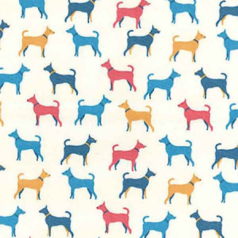 Coloured Dog Cotton Fabric by Rose & Hubble, Blue, Red and Gold Dogs Cotton Poplin Fabric