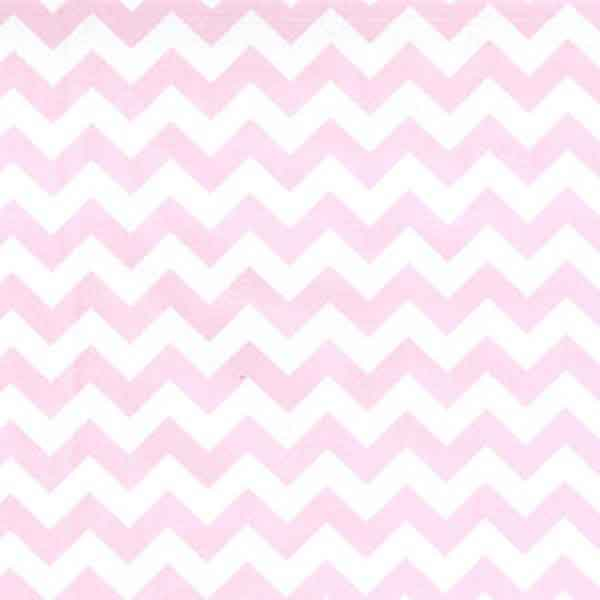 Pink Chevron Cotton Fabric by Rose & Hubble, Pink and White Zig Zag Poplin Fabric