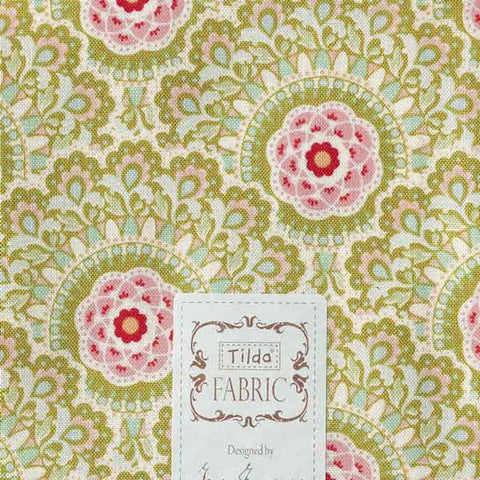 Tilda Cabbage Flower Green Fat Quarter, Harvest Collection, Tilda Fabric 481551 - Fabric and Ribbon