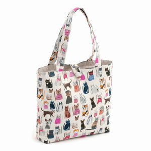 Cats in Jumpers Shoulder Craft Bag, Coloured Cats on White Storage Bag, Hobby Gift  HGSHB/300 - Fabric and Ribbon