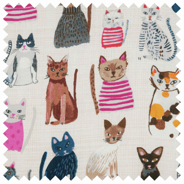 Cats in Jumpers Shoulder Craft Bag, Coloured Cats on White Storage Bag, Hobby Gift  HGSHB/300