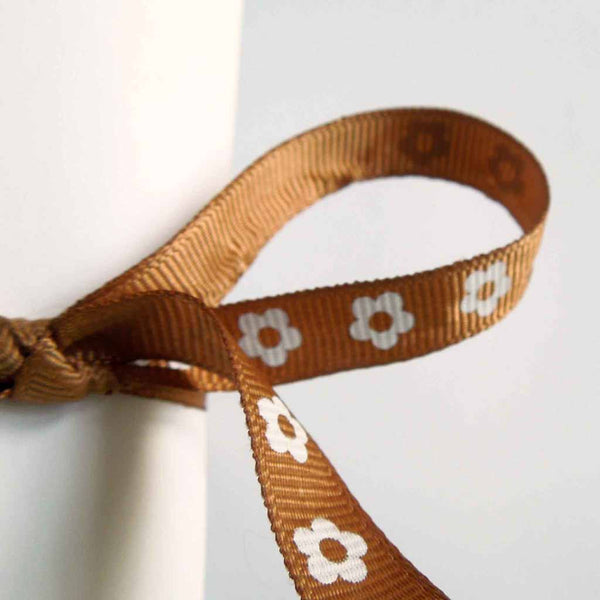 10 mm Chestnut Brown Flower Ribbon on Wooden Bobbin