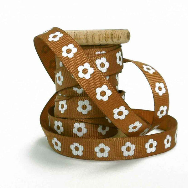 Chestnut brown flower 10 mm ribbon on spool