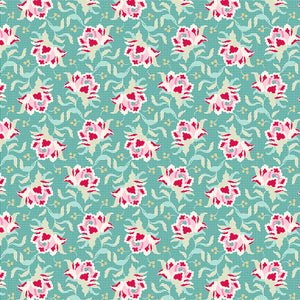 Tilda Clown Flower Teal Cotton Fabric, Circus Collection, Tilda Cotton Fabric 481323 - Fabric and Ribbon