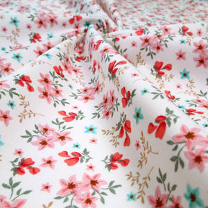 Coral Small Flower Sprigs Cotton Fabric by Rose & Hubble, Coral, Pink and Blue Flowers on White Fabric - Fabric and Ribbon