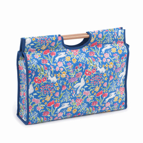 Blue Fabric Craft Bag with Wooden Handles: Garden Blueberry Storage Bag, Hobby Gift  HGCB/323