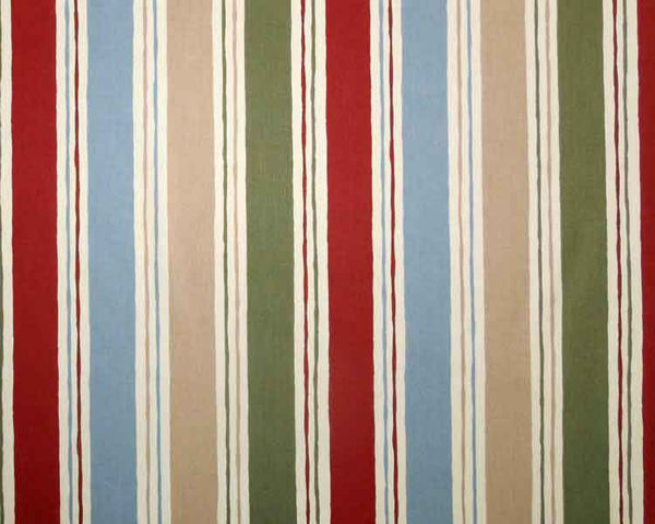 Cranbourne Furnishing Fabric by Prestigious Textiles, Blue, Green, Rust and Beige Striped Cotton Furnishing Fabric - Fabric and Ribbon