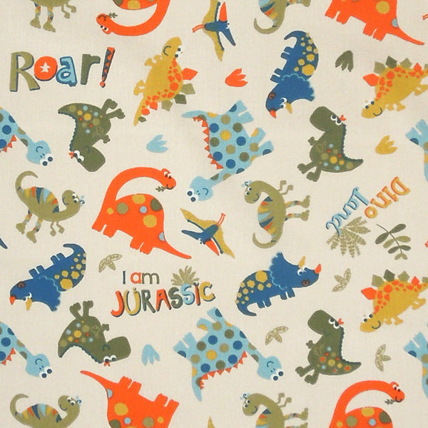 Cream Dinosaur Fabric, Kids Fun Dino Land Cotton Fabric, Children's Cotton Jurassic Dinosaur Fabric - Fabric and Ribbon