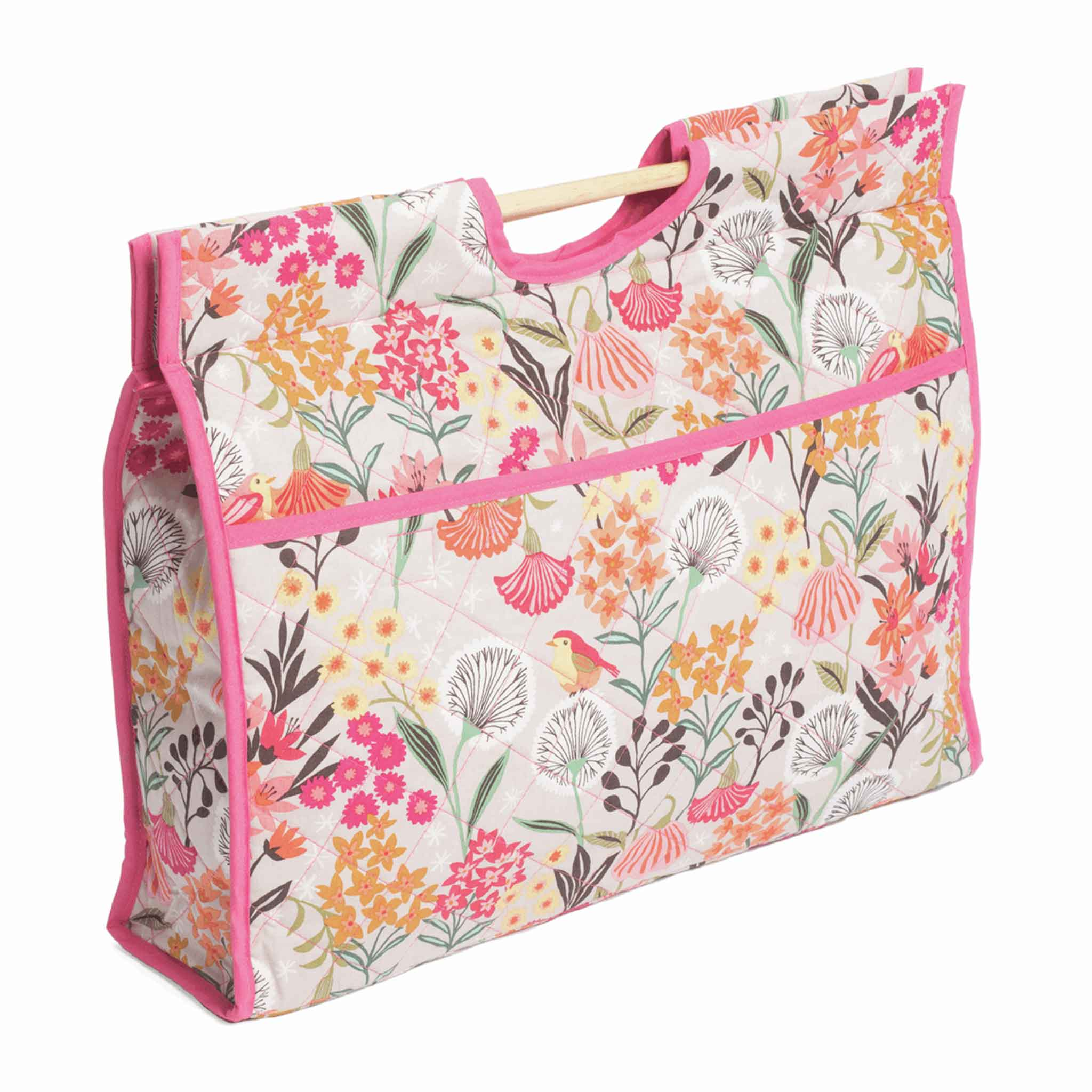 Dandelion Garden Craft Bag with Wooden Handles: Pink Flowers Storage Bag, Hobby Gift  HGCB\233