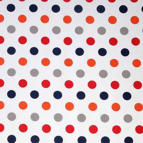 Riley Blake Polka Dot Cotton Fabric, Red, Blue, Orange and Grey Polka Dots on White Cotton Fabric