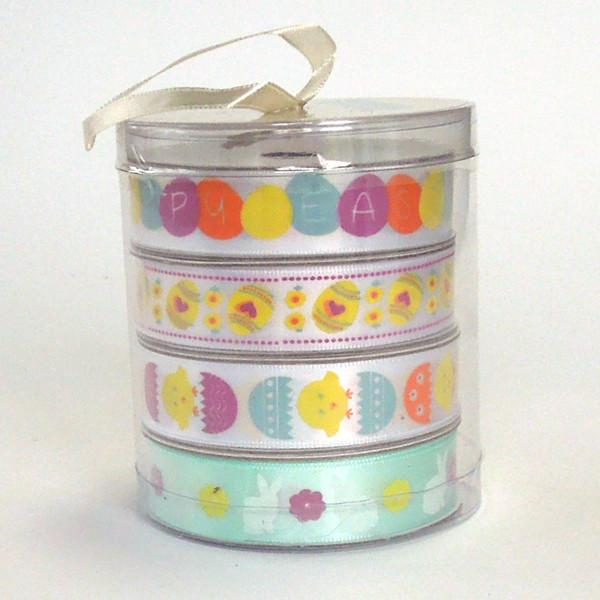 15 mm Easter Egg Satin Ribbon, 5/8 inch Child's Yellow Easter Eggs on White Ribbon - Fabric and Ribbon